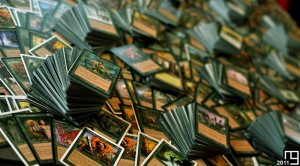 Close shot from 4,000+ green cards, Magic The Gathering