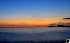 Rising sunset on the Mediterranean Sea